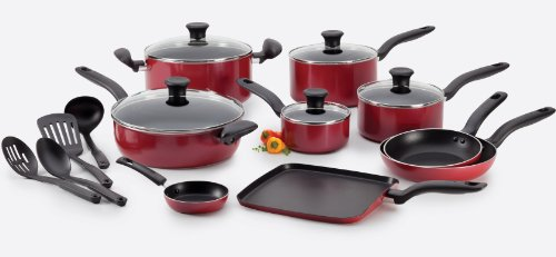 T-fal B209SI Initiatives Nonstick Inside and Out Dishwasher Safe Oven Safe Cookware Set 18-Piece Red