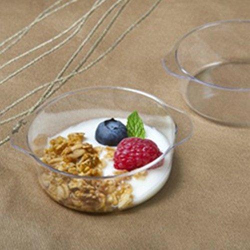 50 175 oz Disposable Heavyweight Plastic Mini Crock pots Tasting Sample Bowl Small Mini Bowls with handles Dessert Cups Mini Cooking Pots Parfait Jello Trifle Bowls