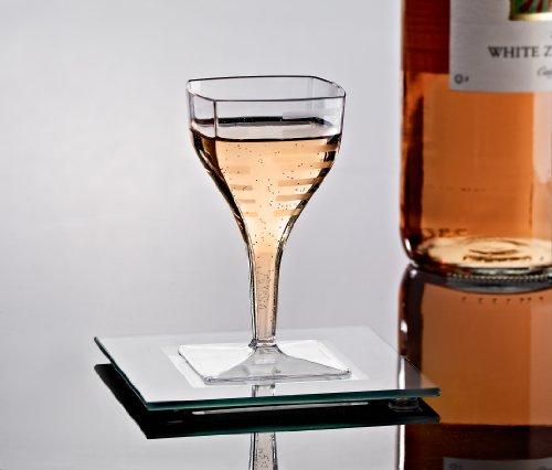 EMI-SWG2 2 oz Square Pedestal Disposable Plastic Wine Glasses Small Mini Wine Glasses Dessert Tasting Cups Fruit Jello Glasses 2oz Wedding Party Wine Beer Champagne Tasting Glasses 96  Case