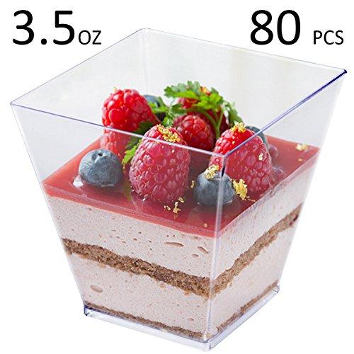 Tosnail 35 Oz Square Clear Plastic Mini Dessert Tumbler Cups - 80 Pack