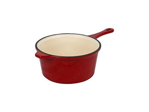 Field Chef Red Enameled Cast Iron Saucepan 3-Quart Oven Safe 400 Deg Slow Cook Stew One-Pot Meals Rice Pork Lamb Spaghetti Beef Chilli Casserole Soups Chicken Fish Beans Turkey Gravy