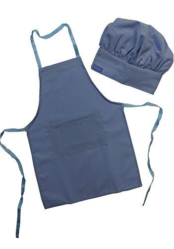 Chefskin Blue Sapphire Apron  Hat Baby Toddler Kid Children Chef Set Lite Fabric