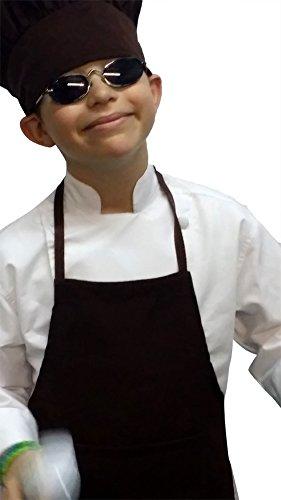 Chefskin Chocolate Brown Apron  Hat Baby Toddler Kid Children Chef Set Lite Fabric