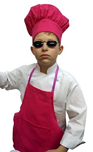 Chefskin HOT Pink Apron  Hat Baby Toddler Kid Children Chef Set Lite Fabric