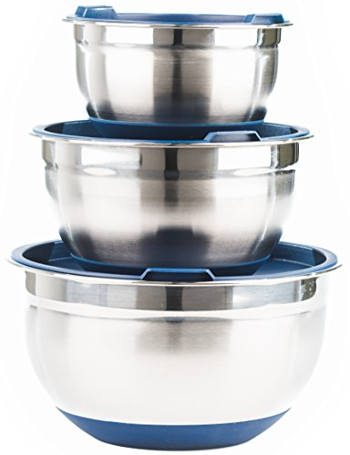 Premium Stainless Steel Mixing Bowls with Lids and Non Slip Bottom Set of 3 by Fitzroy and Fox Blue or Red
