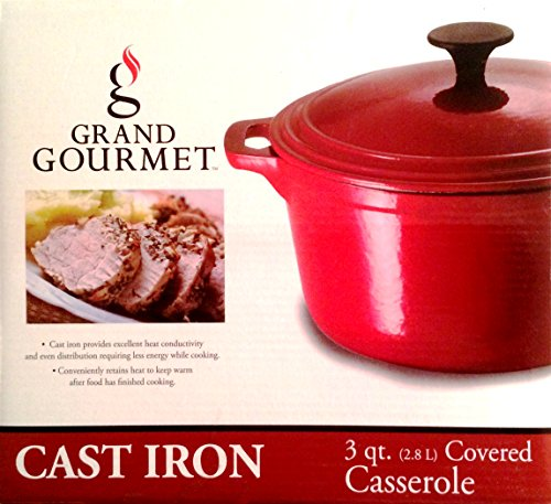 Grand Gourmet Cast Iron 3 Qt Covered Casserole Red