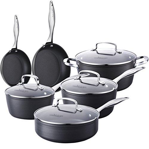 10-Piece Pots and Pans Set COOKSMARK Kingbox Hard-Anodized Aluminum Nonstick Dishwasher Safe Cookware Set with Glass Lid Grey