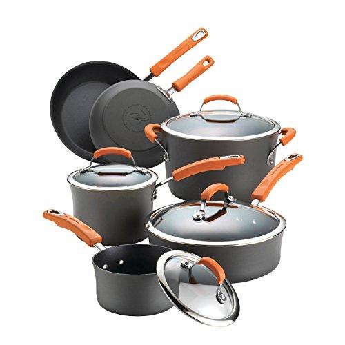 Rachael Ray Hard Anodized II Nonstick Dishwasher Safe 10-Piece Cookware Set Orange