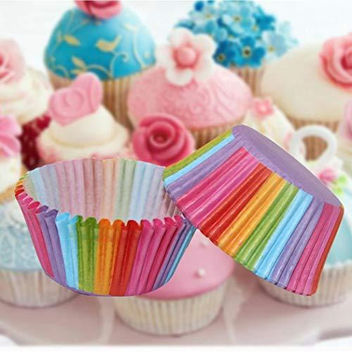 cibenid 100 pcs PVC Bucket Rainbow Cake Paper Cup Chocolate Muffin Baking Paper Tray Baking Pastry Utensils