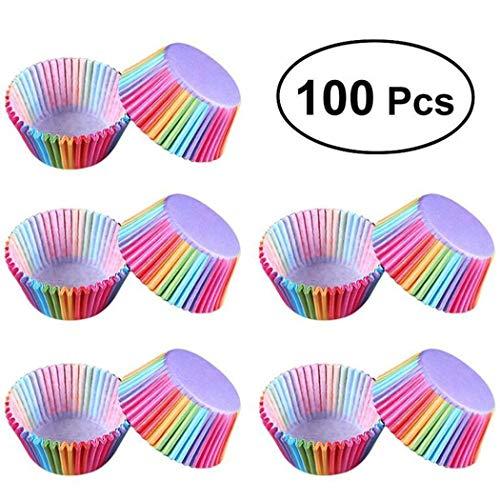 ladiy 100 pcs PVC Bucket Rainbow Cake Paper Cup Chocolate Muffin Baking Paper Tray Baking Pastry Utensils