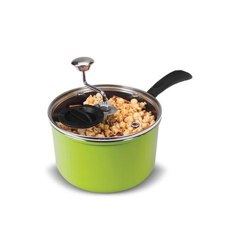 Zippy Pop Green Stovetop Popcorn Popper with Glass Lid 4-Quart Capacity