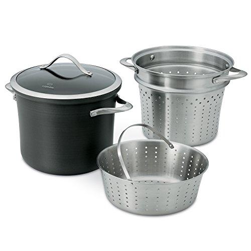 Calphalon Contemporary Hard-Anodized Aluminum Nonstick Cookware Pasta Pot with Steamer Insert 8-quart Black - 1876992
