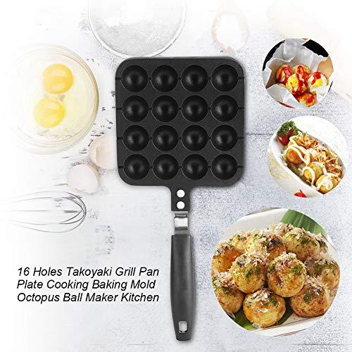 Takoyaki Pan16 Holes Nonstick Cast Aluminum Alloy Takoyaki Grill Pan Octopus Ball Plate for Home Cooking Baking