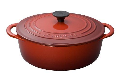 Le Creuset Cerise Cherry Enameled Cast Iron 275 Quart Shallow Dutch Oven