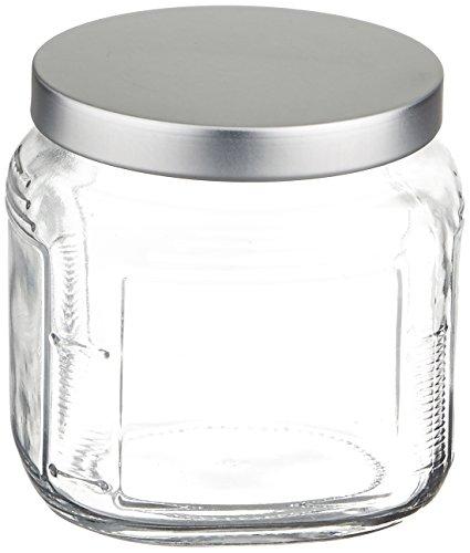 Anchor Hocking 16-ounce Cracker Jar with Brushed Aluminum Lid Set of 6