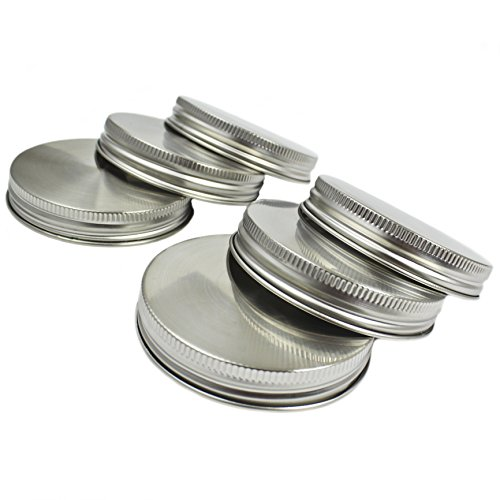 Zoie  Chloe Stainless Steel Mason Jar Lids with Silicone Seals 6 Pack  6 Bonus Replacement Seals