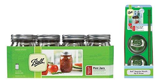 Jar Drinking Glasses Kit- Ball Jar Mouth Pint Jars with Lids and Bands Regular Set of 12  2 Mason Sip and Straw Lids --16 OZ
