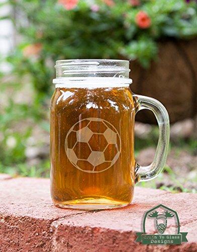 Soccer Ball Mason Handled Jar Beer Mug Gift