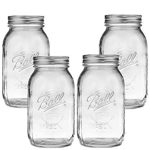 Ball Mason Jar-32 oz Clear Glass Ball Collection Heritage Series-Set of 4 Jars