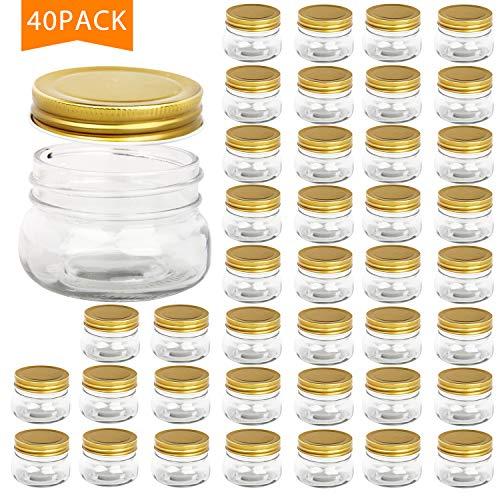 Encheng 5 oz Wide Mouth Mason JarsClear Glass Jars with LidsGoldenSmall Spice Jars for HerbJellyJamsWedding FavorsShower FavorsBaby FoodsMini Canning Jars for Kitchen Storage 40 Pack