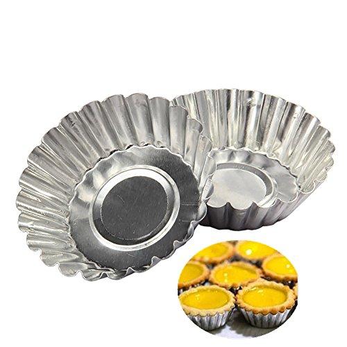 20pcs Egg Tart Aluminum Cupcake Cake Cookie Mold Lined Mould Tin Baking Tool Silver
