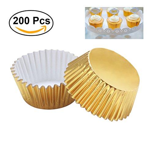 OUNONA 200pcs Thickened Aluminum Foil Cupcake Liners Cake Muffin Molds for Baking Light Golden