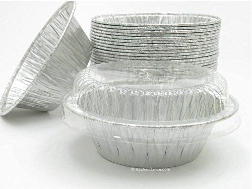 Disposable Aluminum 4 Deep Mini Pie Tart Pan with Clear Dome Lids 1152P 100