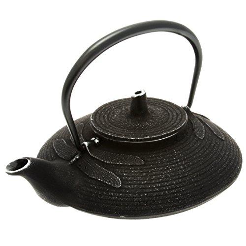 Iwachu Japanese Iron Tetsubin Teapot Dragonfly Silver and Black