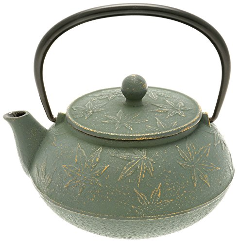 Iwachu Japanese Iron Tetsubin Teapot with Bronze Maple Leaf GoldPatina Green