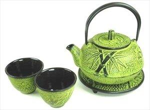 JapanBargain Cast Iron Teapot Tea Set Tetsubin Bamboo