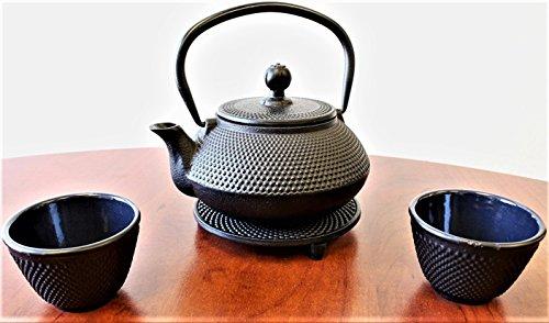 Japanese Antique 24 Fl Oz Black Small Dot Hobnail Cast Iron Teapot Tetsubin with Infuser Tea Set with Trivet