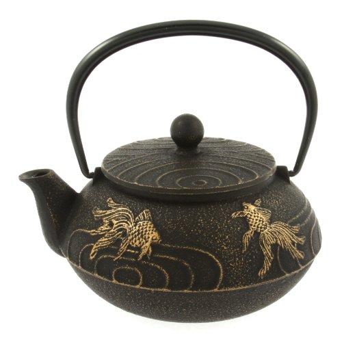 Iwachu Japanese Iron Teapot Tetsubin Gold and Black Goldfish