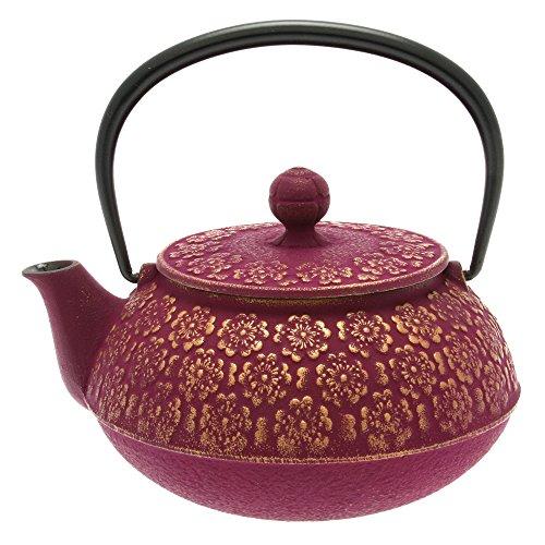 Iwachu Japanese Iron Tetsubin Teapot Cherry Blossoms Gold and Purple