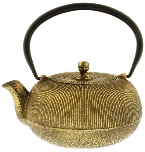 Kotobuki Japanese Iron Teapot Black and Gold 1000 Lines