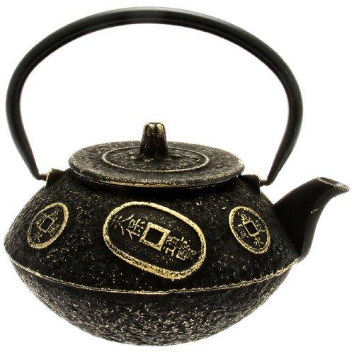 Kotobuki Japanese Iron Teapot Black and Gold Ancient Coin