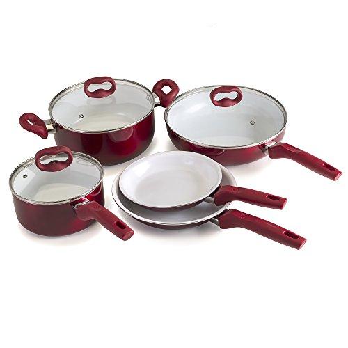 Ecolution Bliss 8Piece Non-Stick Cookware Set - PFOA PTFE Lead Free  Candy Apple Exterior  White Interior