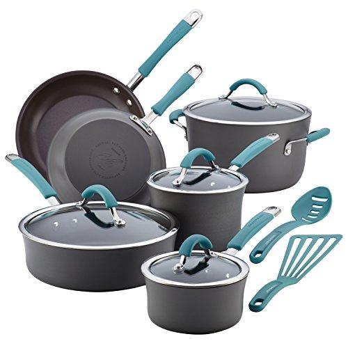 Rachael Ray Cucina 87641 12-Piece Cookware Set Gray Agave Blue Handles