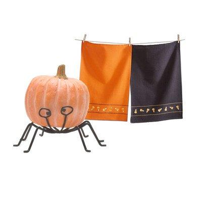 3 Piece Halloween Dishtowel and Pumpkin Stand Set