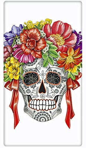 Halloween Floral Skull 100 Cotton Flour Sack Dish Tea Towel - Mary Lake Thompson 30 x 30