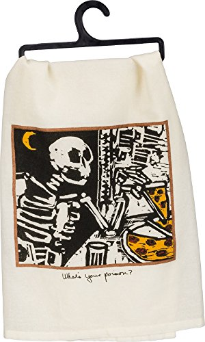 Halloween Whats Your Poison Halloween Dish Towel Skeleton Eating Pizza