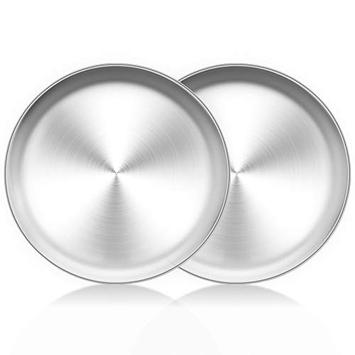 TeamFar Pizza Pan 10 inch Pizza Pans Pizza Tray Stainless Steel for Oven Baking Non Toxic Healthy Heavy Duty Dishwasher Safe - 2 Pack