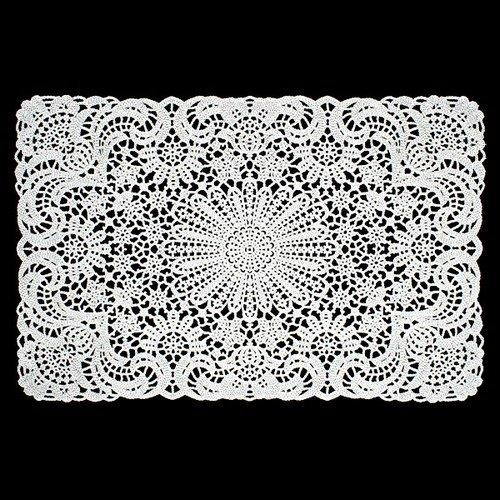 WHITE VINYL LACE PLACEMATS 18x12L