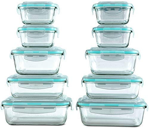 20 Piece Glass Food Storage Containers Set with Snap Lock Lids - Safe for Microwave Oven Dishwasher Freezer - BPA Free - Airtight Leakproof