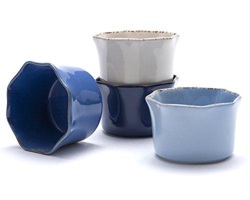 Prima Design Classic Cream to Cobalt Ramekins Set 4-Inch Red Set of 4