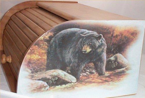 Bear Bread Box Bamboo Wood Cabin Lodge Kitchen Decor Country Black Bears