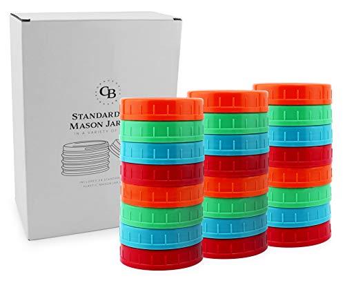 Cornucopia Colored Plastic Mason Jar Lids Regular Mouth 24-Pack Unlined Multicolored Economy Bundle of Standard Mason Jar Caps 70-450 Size BPA-Free