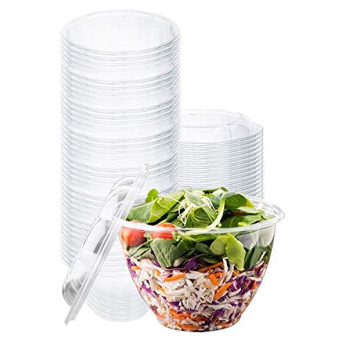 Disposable Salad Bowls with Lids 50 Count 48 oz Plastic Salad Bowls - Large Salad Bowl To-Go Container with Airtight Lids
