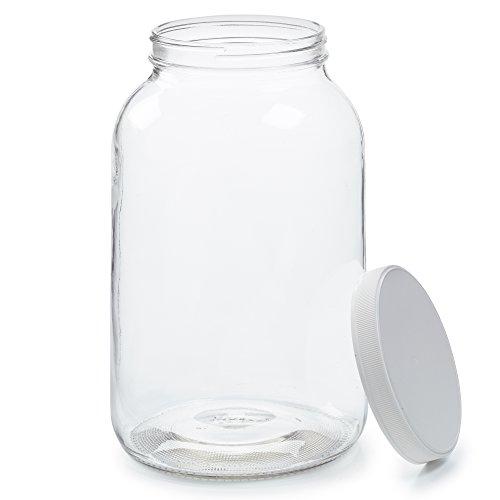 Empty 1 Gallon Glass Jar wAirtight Leakproof Plastic Lid - Wide Mouth Easy to Clean - BPA Free Dishwasher Safe - USDA Certified - Kombucha Tea Kefir Canning Sun Tea Fermentation Food Storage