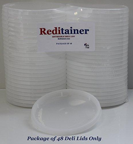 Reditainer Deli Container Lids - Airtight Durable Plastic Lids - Replacement Reusable Deli Lids for Reditainer Deli Containers LIDS ONLY - Package Count 48
