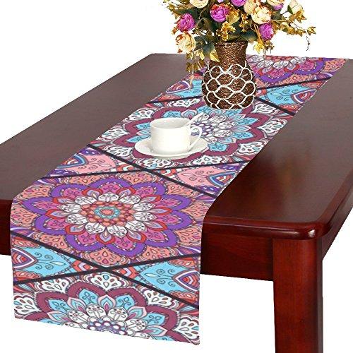 Love Nature Houseables Fitted Custom Boho Flower Mandala Cotton Table Runner 16 x 72